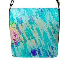 Blue Background Art Abstract Watercolor Flap Messenger Bag (l)
