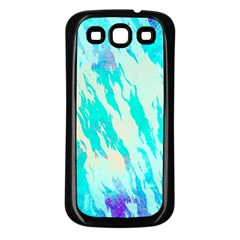 Blue Background Art Abstract Watercolor Samsung Galaxy S3 Back Case (black)