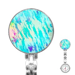 Blue Background Art Abstract Watercolor Stainless Steel Nurses Watch