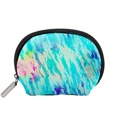 Blue Background Art Abstract Watercolor Accessory Pouches (small)