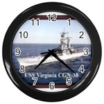 USS Virginia Pic Wall Clock (Black)
