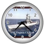 USS Virginia Pic Wall Clock (Silver)