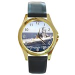 USS Virginia Pic Round Gold Metal Watch