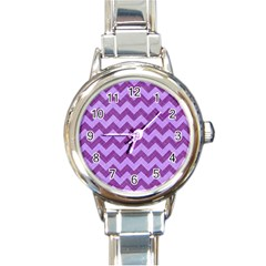 Background Fabric Violet Round Italian Charm Watch