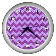Background Fabric Violet Wall Clocks (silver)