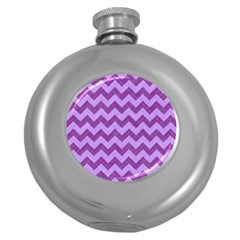 Background Fabric Violet Round Hip Flask (5 Oz)