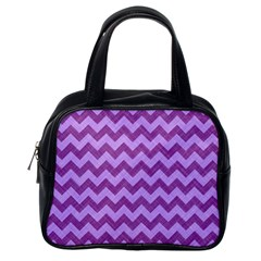 Background Fabric Violet Classic Handbags (one Side)