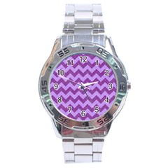 Background Fabric Violet Stainless Steel Analogue Watch by Nexatart