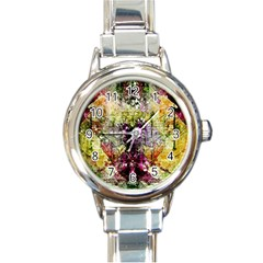 Background Art Abstract Watercolor Round Italian Charm Watch