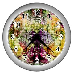 Background Art Abstract Watercolor Wall Clocks (silver)