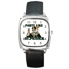 St  Patricks Day  Square Metal Watch by Valentinaart