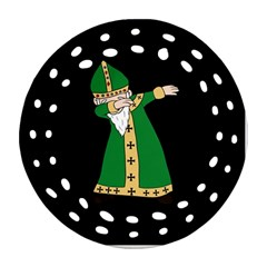 St  Patrick  Dabbing Round Filigree Ornament (two Sides) by Valentinaart