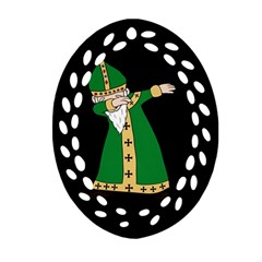 St  Patrick  Dabbing Oval Filigree Ornament (two Sides) by Valentinaart