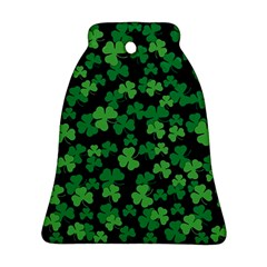 St  Patricks Day Clover Pattern Bell Ornament (two Sides) by Valentinaart