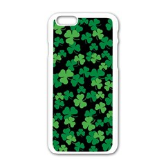 St  Patricks Day Clover Pattern Apple Iphone 6/6s White Enamel Case by Valentinaart