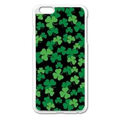 St  Patricks Day Clover Pattern Apple Iphone 6 Plus/6s Plus Enamel White Case by Valentinaart
