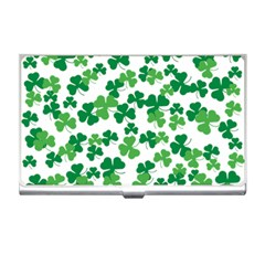 St  Patricks Day Clover Pattern Business Card Holders by Valentinaart
