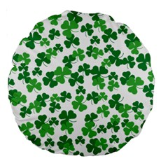 St  Patricks Day Clover Pattern Large 18  Premium Round Cushions by Valentinaart