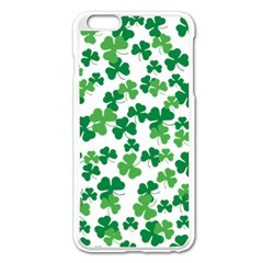 St  Patricks Day Clover Pattern Apple Iphone 6 Plus/6s Plus Enamel White Case by Valentinaart