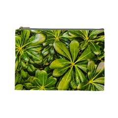 Top View Leaves Cosmetic Bag (large)  by dflcprints