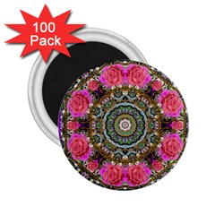 Roses In A Color Cascade Of Freedom And Peace 2 25  Magnets (100 Pack)  by pepitasart