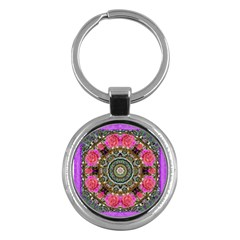 Roses In A Color Cascade Of Freedom And Peace Key Chains (round)  by pepitasart