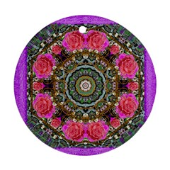 Roses In A Color Cascade Of Freedom And Peace Round Ornament (two Sides) by pepitasart