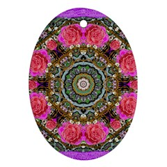 Roses In A Color Cascade Of Freedom And Peace Oval Ornament (two Sides) by pepitasart