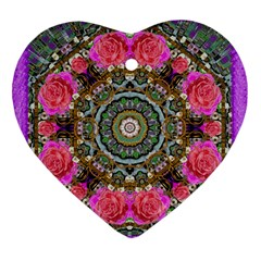 Roses In A Color Cascade Of Freedom And Peace Heart Ornament (two Sides) by pepitasart