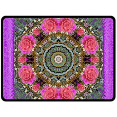 Roses In A Color Cascade Of Freedom And Peace Fleece Blanket (large)  by pepitasart