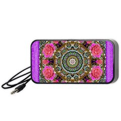 Roses In A Color Cascade Of Freedom And Peace Portable Speaker by pepitasart