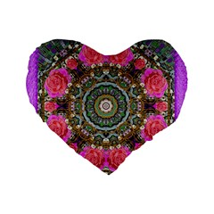 Roses In A Color Cascade Of Freedom And Peace Standard 16  Premium Heart Shape Cushions by pepitasart
