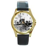USS YMS-415 Pic Round Gold Metal Watch