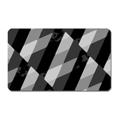 Black And White Grunge Striped Pattern Magnet (rectangular) by dflcprints