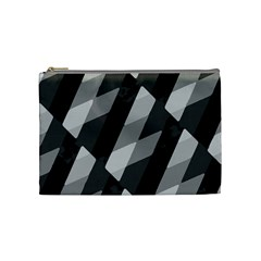 Black And White Grunge Striped Pattern Cosmetic Bag (medium)  by dflcprints