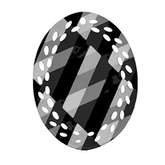 Black And White Grunge Striped Pattern Ornament (oval Filigree) by dflcprints