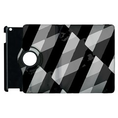 Black And White Grunge Striped Pattern Apple Ipad 2 Flip 360 Case by dflcprints