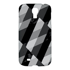 Black And White Grunge Striped Pattern Samsung Galaxy S4 I9500/i9505 Hardshell Case by dflcprints
