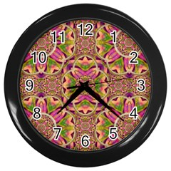 Jungle Flowers In Paradise  Lovely Chic Colors Wall Clocks (black) by pepitasart