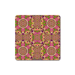 Jungle Flowers In Paradise  Lovely Chic Colors Square Magnet by pepitasart