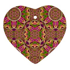 Jungle Flowers In Paradise  Lovely Chic Colors Heart Ornament (two Sides) by pepitasart
