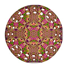 Jungle Flowers In Paradise  Lovely Chic Colors Round Filigree Ornament (two Sides) by pepitasart