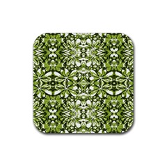 Stylized Nature Print Pattern Rubber Coaster (square)  by dflcprints