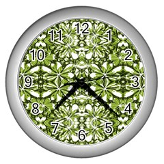 Stylized Nature Print Pattern Wall Clocks (silver)  by dflcprints