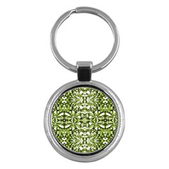 Stylized Nature Print Pattern Key Chains (round)  by dflcprints