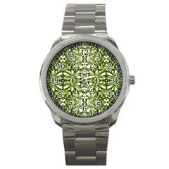 Stylized Nature Print Pattern Sport Metal Watch by dflcprints