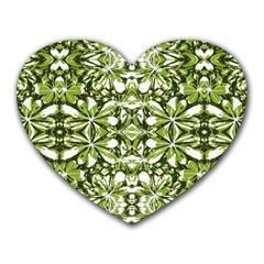 Stylized Nature Print Pattern Heart Mousepads by dflcprints