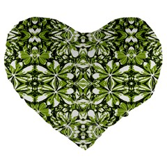 Stylized Nature Print Pattern Large 19  Premium Flano Heart Shape Cushions by dflcprints