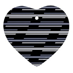 Skewed Stripes Pattern Design Ornament (heart) by dflcprints