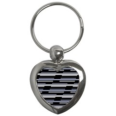 Skewed Stripes Pattern Design Key Chains (heart)  by dflcprints